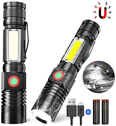 iToncs Taschenlampe LED Hohe Leuchtkraft, Mini USB Aufladbar Camping Taschenlampe mit Magnet, Wetterfesten Hochgradigen Legierung Led Taschenlampen für Kinder SOS COB Arbeitsleuchte LED mit 4 Modi