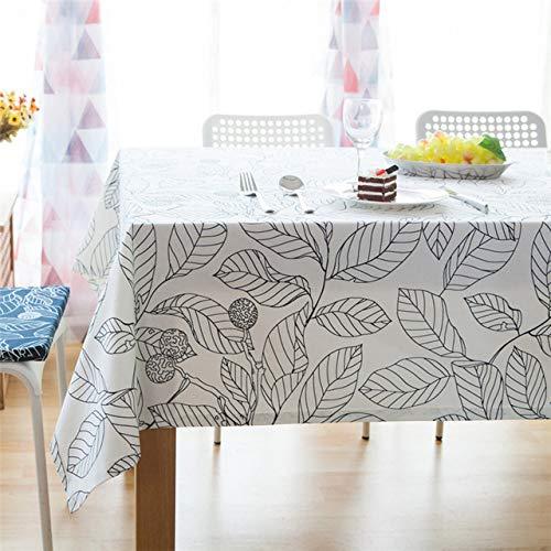ShiyueNB Stofdicht Japanse stijl tafelkleed wit zwart laten bedrukken zacht tafelkleed katoen linnen eettafel cover voor keuken thuis 60x60cm Baisiyaz