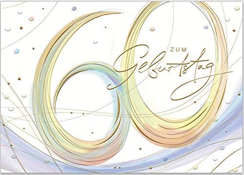 Hochwertige Geburtstags-Grußkarte von Turnowsky zum 60. Geburtstag, Relief-Klappkarte zum Beschriften mit Umschlag und Aufdruck'zum Geburtstag 60'