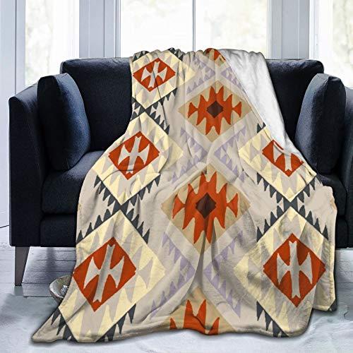 BCVHGD Ropa de Cama Liviana y cómoda, patrón étnico con Motivos Indios Americanos, Manta Adecuada para Todas Las Estaciones es Adecuada para 80