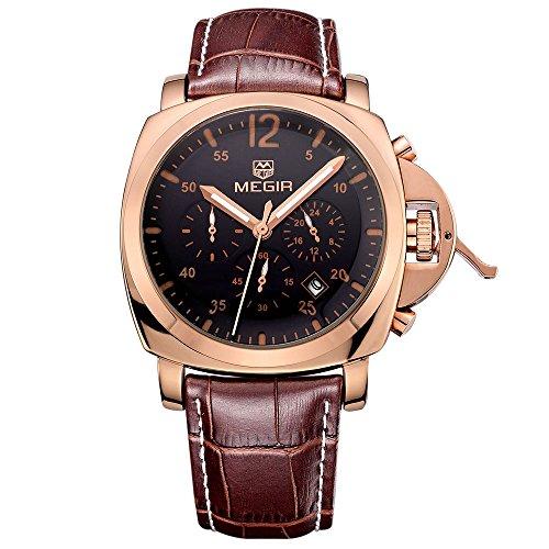 MEGIR Orologio sportivo da uomo, grande, colore: oro e rosa, analogico, al quarzo, in pelle classica marrone, con cronografo, impermeabile
