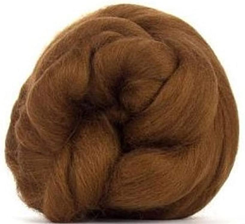 4 oz Paradise Fibers Chocolate (Brown) Corriedale Top Spinning Fiber Luxuriously Soft Wool Top Roving for Spinning with Spindle or Wheel, Felting, Blending and Weaving