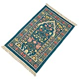 Alfombra de oración musulmana, portátil, plegable, alfombra de oración, alfombra islámica para oraciones musulmanas, gran regalo de Ramadán para hombres y mujeres musulmanes (azul)
