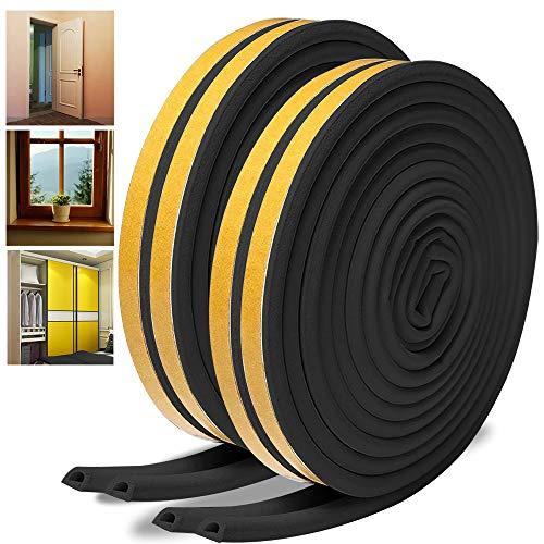 Dichtungsband für Türen,16 Meter Türen Dichtung D-Profil Gummidichtung Fensterspalten Selbstklebende Türdichtungen Gummidichtung Gegen kalte Zugluft, Lärm (2 Rollen) (16M, Schwarz)