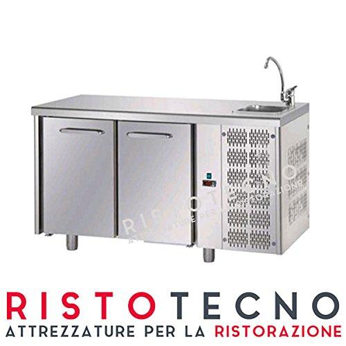 Tavolo frigo Refrigerato 2 sportelli porte, con lavello saldato. 300 Lt. Acciaio inox. -2°/+8°C. Cm. 142x70x85H.