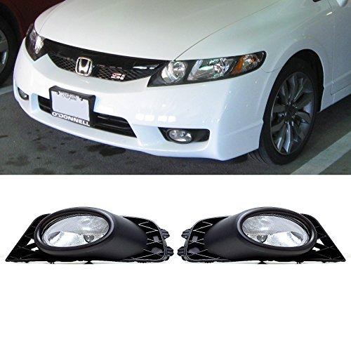 VioGi Fit 09-11 Honda Civic 4-Door Sedan Clear Lens Fog Lights Kit w/Bulbs+Switch+Wiring Harness+Relay+Bracket+Necessary Mounting Hardware