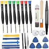 Sukudon - Juego de destornilladores magnéticos de precisión, espátulas de metal, cepillo de limpieza, kit de reparación para ordenador portátil, gafas