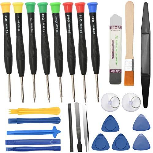 Sukudon Juego de destornilladores de precisión magnética, alicates ESD, espátula de metal, cepillo de limpieza, kit de reparación de ordenador portátil, gafas