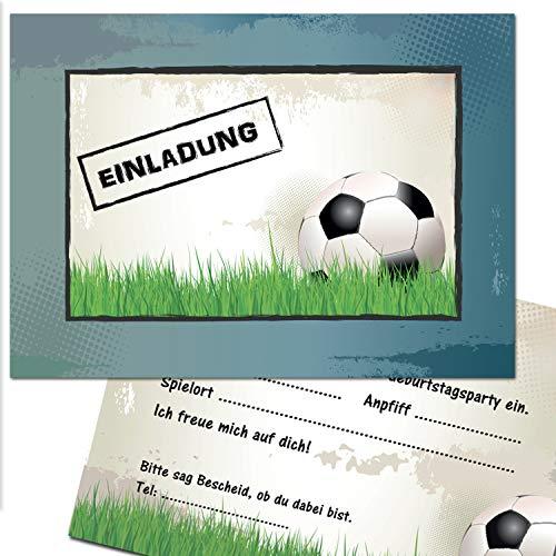 Kreatives Herz Fussball Einladungskarten zum Kindergeburtstag (10er Set) für Jungen Bunte Einladungen A6 Kinder Party Kindereinladungen (10 Karten)