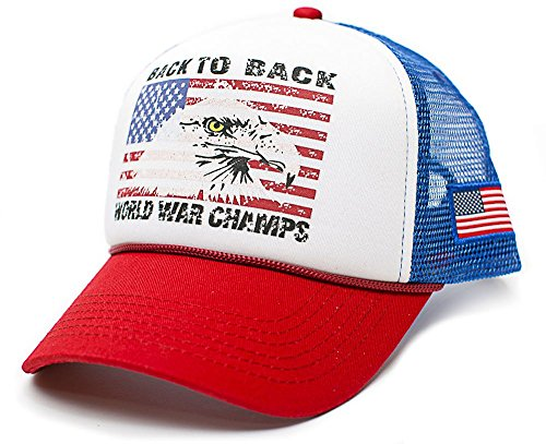 Back To Back World War Champs Eagle Unisex-Adult Trucker Hat -One-Size (Royal/Red)