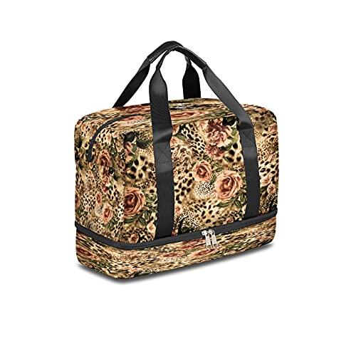 BOLOL - Borsone da viaggio con stampa leopardata, motivo tigre animale e leopardo, borsa da palestra, borsa da viaggio per uomini e donne