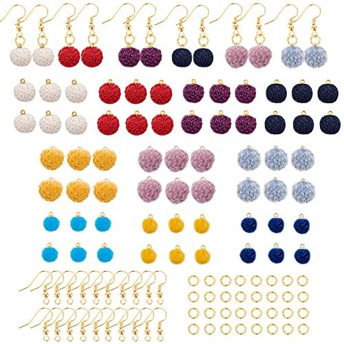 SUNNYCLUE 60 piezas de 10 colores pompón pendientes colgantes colorido redondo esponjoso bola DIY colgante pendientes kits de fabricación de joyas para llavero suministros de decoración