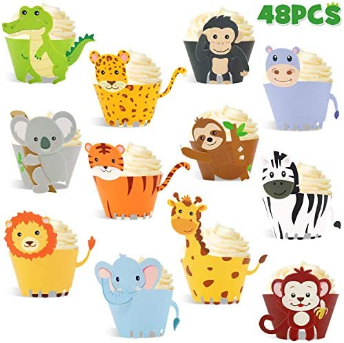 48pcs Jungle Safari Animal Cupcake Wrapper Wild One Birthday Photo Booth Props Zoo Party Supplies product image