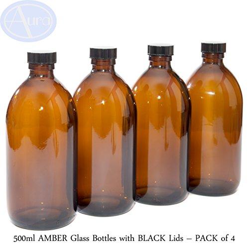 500ml botellas de vidrio ámbar con negro tapas–Pack de 4