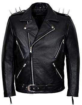 Ghost Rider  Men s Black Metal Spikes Motorcycle Cowhide Leather Jacket  XL