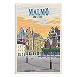 YRTZ Vintage-Reise-Poster Malmo auf Leinwand, modernes