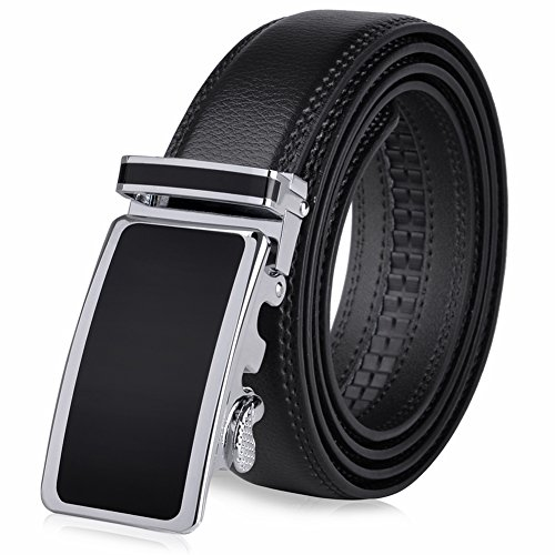 Vbiger Men's Leather Belt Sliding Buckle 35mm Ratchet Belt (Black 21) 48″