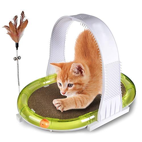 DHM-kennel Cómodo 5-en-uno Cat Scratch Board Rolling Ball Teaser Varita Picazón Cat Nest Sofa House Pet Paw Care Toy Kitten Scratcher Infinity Lounge Bell Ball Seguro