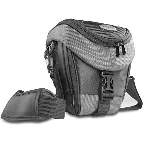 Mantona Colt DSLR Kamera Tasche für Spiegelreflex, SLR, Kompaktkamera, Systemkamera, Schultertasche Umhängetasche mit Platz für Zubehör, wasserdicht, schwarz/grau