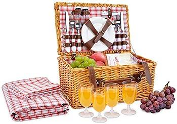 Picnic Basket for 4 Person   Red Picnic Hamper Set   Folding Picnic Blanket   Picnic Table Set   Picnic Plates   Picnic Supplies   Summer Picnic Kit   Picnic Utensils Cutlery Set Flatware