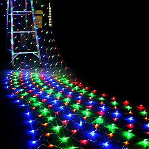 1.5MX1.5M 2x3M 4x6M Guirnaldas de Navidad Cadena de LED Luces de Red navideñas Hada Fiesta de Navidad Jardín Decoración de Bodas Luces de Cortina - Multicolor, 1.5Mx1.5M 96LEDs, Enchufe de la UE 220V