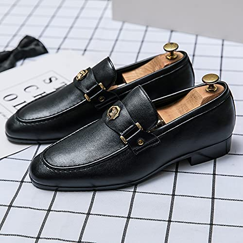 Classic Slip on Loafer Cap Toe Men Oxfords Shoes Street Lightweight Cansual Sneaker (Black, Numeric_6_Point_5)