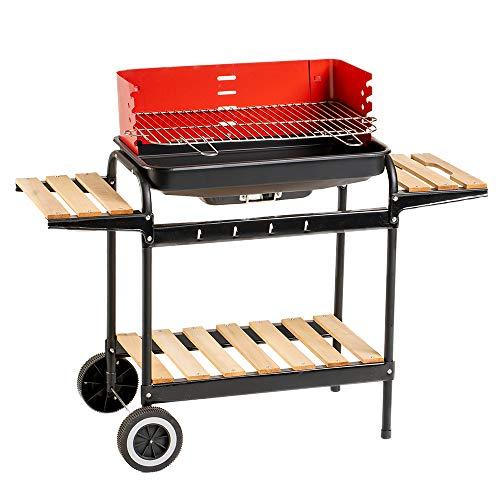 Enrico Coveri Garden Barbecue a Carbone Grill BBQ a  Carbonella Quadrato, Ripiani in Legno, Paravento e Ruote 105X45X85