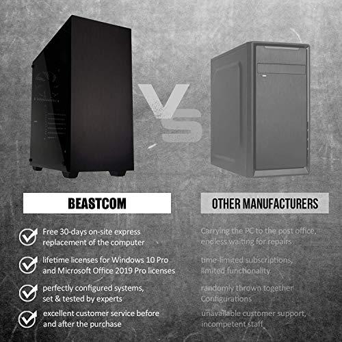 BEASTCOM Q1 | Home n Office PC | Desktop Büro Multimedia Computer | Intel i5 Quad Core 4X 3.60Ghz | 16GB RAM | 256GB SSD 1TB | 4K Grafik Intel HD | HDMI | USB 3.1 | WLAN | Win10 Pro | Office 2019