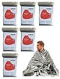 BaiJ Mantas de Emergencia,6 Piezas Manta Termicas Supervivencia Kit Primeros Auxilios Impermeable y Resistente al Viento Térmico para Supervivencia Aire Libre Senderismo Rescate Manta Plata