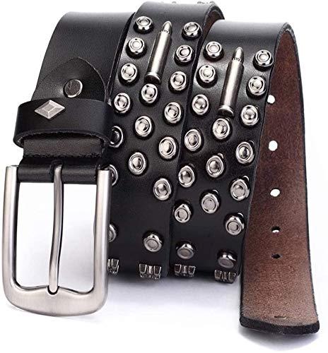 Riemen Belt Vintage Leren Beslagen Riemen 38mm Cowboy Riemen for Womens Mens for vrouwen en mannen (Kleur: Zwart, Maat: 125cm) (Color : Black, Size : 110cm)