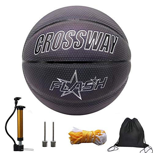 Buy Glowing Reflective Basketball Soft Professional Luminous Reflective Night Colorful Basketball wi...