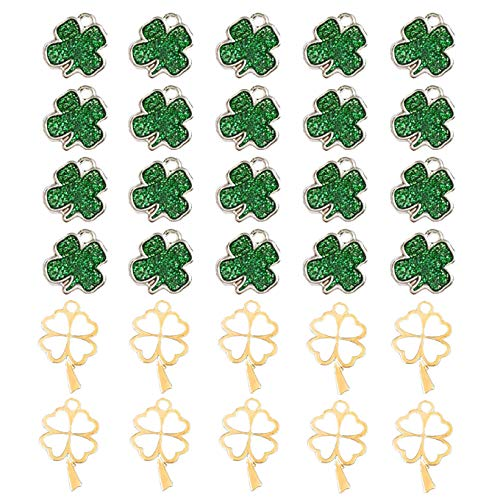 30 Pcs Lucky Four-Leaf Clover Charm Pendant Enamel Sequins Dangle Gold Plated Heart-Shaped Dainty Ornament for Necklace Bracelet Ankle Earring Jewelry DIY Making