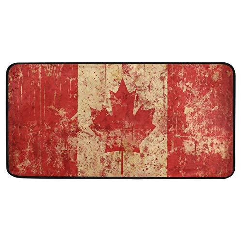 Vipsa Teppiche, rechteckig, Polyester, rutschfest, 99 x 51 cm (Retro kanadische Flagge)