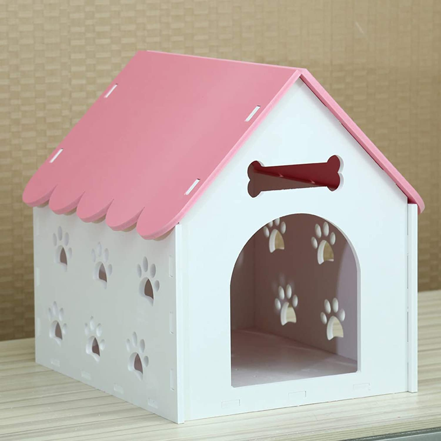 Pet nest kennel cat litter dog house indoor winter warm dog house outdoor pet nest Teddy Bomei small kennel villa  with door  pink 40  37  42cm