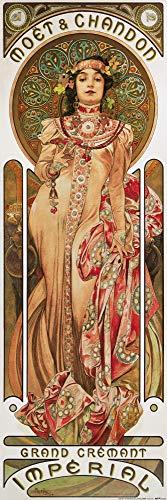 1art1 Alphonse Mucha - Moët Et Chandon, Grand Cremant Imperial Plakat-Kunst, 1899 Poster Kunstdruck 91 x 30 cm