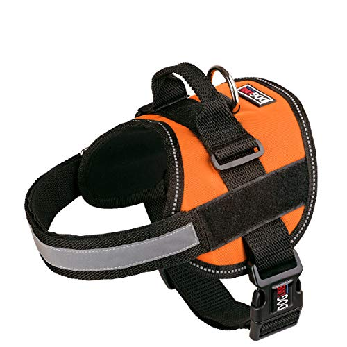 Dog Harness, Reflective No-Pull Adjustable Vest with Handle for Walking, Training, Service Breathable No - Choke Harness for Small, Medium or Large Dogs Room for Patches Girth 22 to 30 in Orange