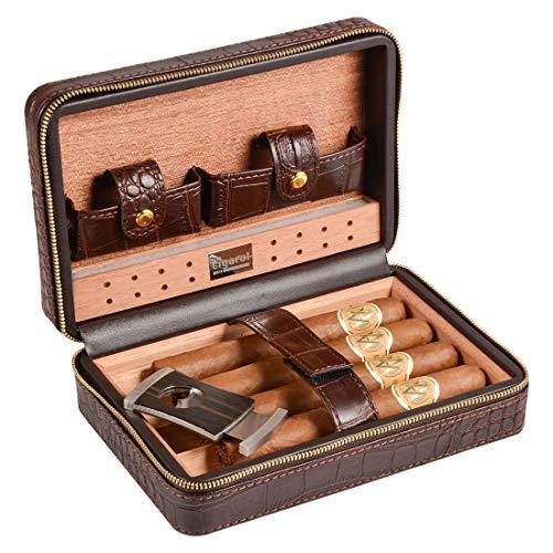 Humidor de puros Volenx de piel de cocodrilo con cristal humidificador, cortapuros, tubos para puros–5puros
