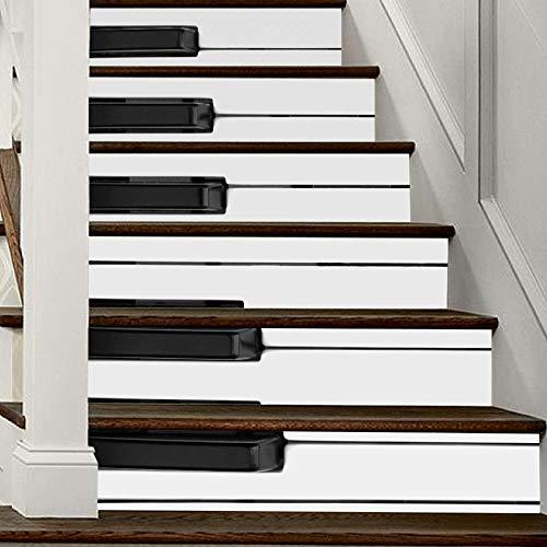 12 stks zwart en wit Piano sleutels zelfklevende trap Stickers Home Decor