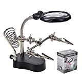 LXIANGN Led Light Helping Hands Soldering Magnifying Lamp Professional 3.5X 12X Magnifying Glass Stand with Auxiliary Clamp and Alligator Clips