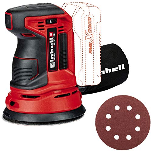 Einhell Akku Exzenterschleifer TE-RS 18 Li Solo Power X-Change (Lithium Ionen, 18 V, Schleifteller-Ø 125 mm, Softgrip, inkl. 1 x Schleifpapier, ohne Akku und Ladegerät)
