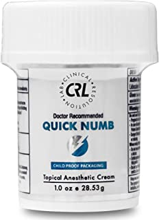 Quick Numb (1oz/28.53g) Topical Numbing Cream 5% Lidocaine, Anesthetic Liposomal Technology for Deeper Penetration, Ease Local and Anorectal Discomfort
