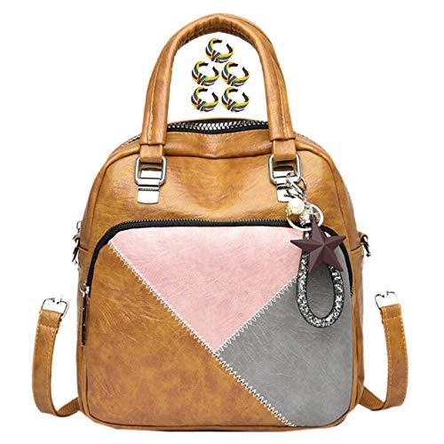 GGLZMMF Stitching Contrast Color Ladies Leather Handbags Multifunctional Backpacks Shoulder Bags Messenger Bags Red Blue Black Dark Pink Brown+yellow-OneSize