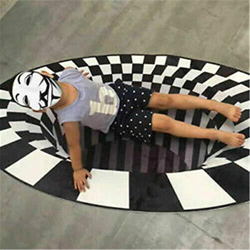 3D Black White Plaid Round Rugs 3D Round Carpets Optical Illusion Black Hole Checkered Vortex Optical Illusions Easy to Clean Easy to Manage Room Bedroom Anti-slip Floor Mat Area Rug for Living Room B