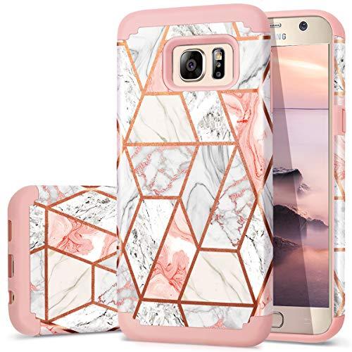 Fingic Galaxy S7 Hülle, Samsung S7 Hülle Marmor Design Glänzend Glitzer Bumper Hybrid Hard PC Soft Rubber Anti-Scratch Shockproof Schutzhülle für Samsung Galaxy S7 (5,1 Zoll) (2016) - Roségold