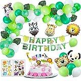 Joeyer 54 PCS Selva Fiesta de Cumpleaños Decoracion, Globo de Aluminio Safari Bosque Animal Cumpleaños Globos con Hojas para Niño Cumpleaños Baby Shower Decoración