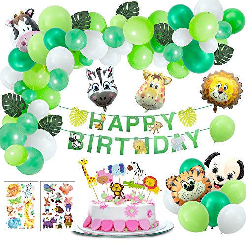 Joeyer 54 PCS Selva Fiesta de Cumpleaños Decoracion, Globo de Aluminio Safari Bosque Animal Cumpleaños Globos con Hojas para Niño Cumpleaños Baby Shower Decoración