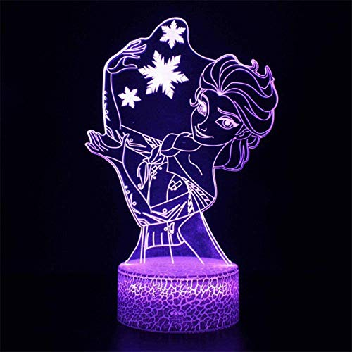 3D-Illusion-Tischlampe, 16 Farben wechselndes Nachtlicht mit Fernbedienung, Geburtstagsgeschenk für Jungen Die Eiskönigin Prinzessin Anna Elsa Olaf 1