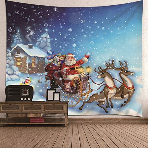 Tapiz de Navidad para colgar en la pared, colcha de ciervo Papá Noel, regalo de copo de nieve, tapiz para dormitorio 337 x 250 cm
