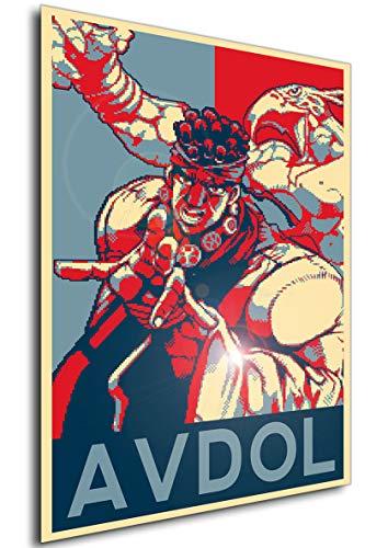 Wall Art Poster JoJo Propaganda Avdol Pixel Art Size A3 (30cm x 42cm/11in x 17in) Unframed Great Gift