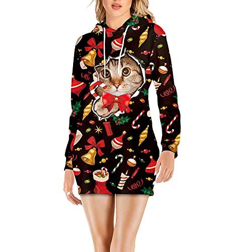 Yumeng Sudadera con capucha para mujer con diseño de gato de manga larga con estampado de gato, Negro, M